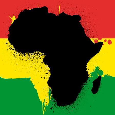 famine: grunge map with flag of african ink  illustration Illustration