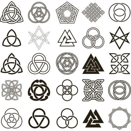 Set of symbols icons. Tattoo design set.