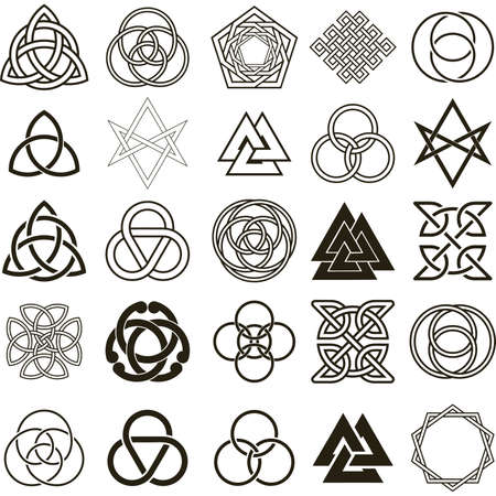 Set of symbols icons. Tattoo design set.  Vector