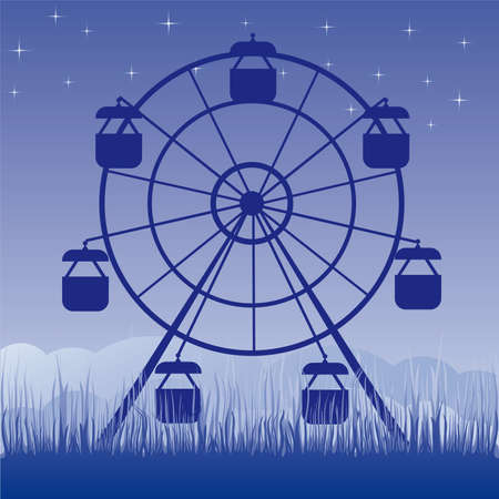 amusement park black and white: Ferris wheel  illustration. Amusement park cartoon.