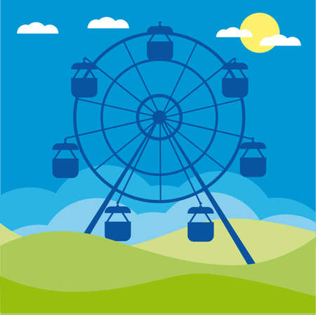 amusement park black and white: Ferris wheel illustration. Amusement park cartoon. Illustration