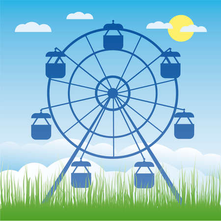 Ferris wheel illustration. Amusement park cartoon. Stock Vector - 6977713
