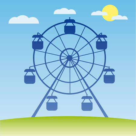 Ferris wheel illustration. Amusement park cartoon. Stock Vector - 6977688