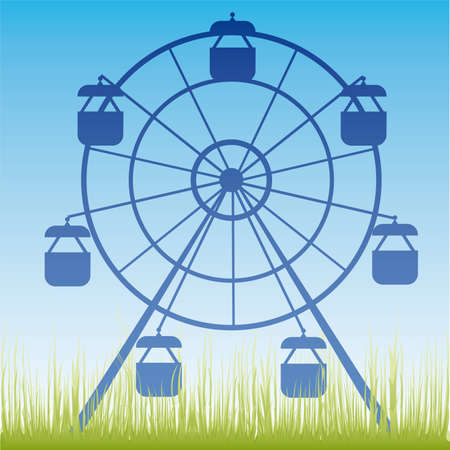 Ferris wheel illustration. Amusement park cartoon. Stock Vector - 6977712