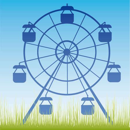 amusement park ride: Ferris wheel illustration. Amusement park cartoon. Illustration