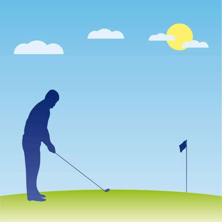 golfer swinging: Golf players silhouette.  illustration