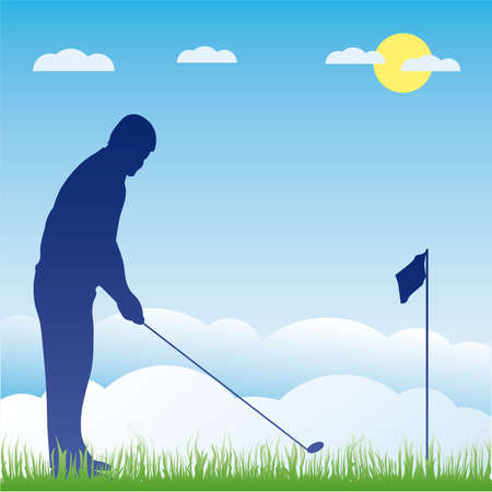Golf players silhouette illustration Stock Vector - 6977711