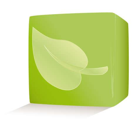 illustration green environmental cube on white Stock Vector - 6977728