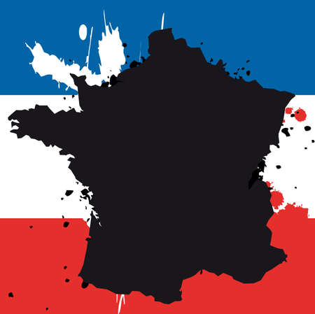 Grunge border line of country France filled with flag of the state Vector