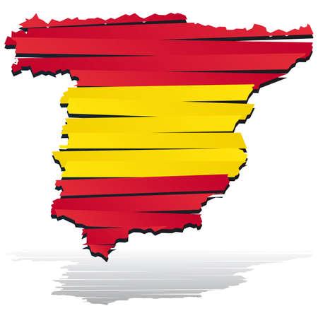 spain map: Mappa colore astratto del paese Spagna colorati dalla bandiera nazionale