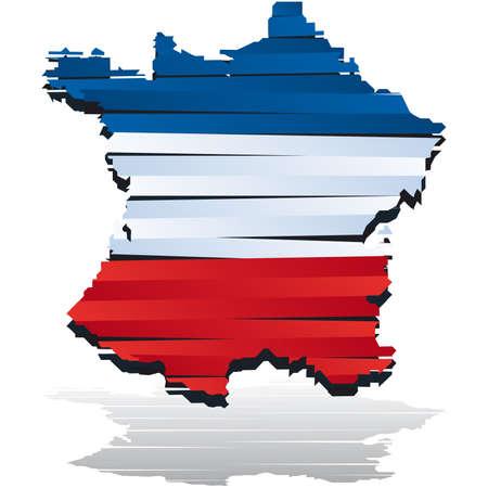 bandera francia: Mapa de color abstracta de pa�s de Francia coloreada por la bandera nacional  Vectores