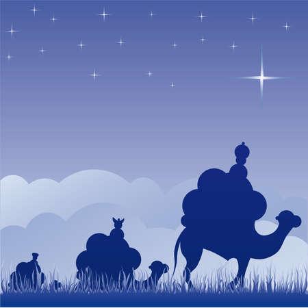 magi: Classic three magi scene and shining star of Bethlehem.
