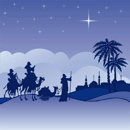 Classic three magi scene and shining star of Bethlehem. Vector