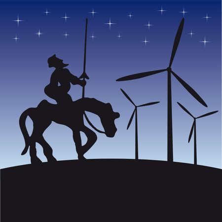 Don Quijote illustration cartoon silhouette Vectores