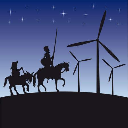 don quixote: Don Quijote silueta de dibujos animados de ilustraci�n