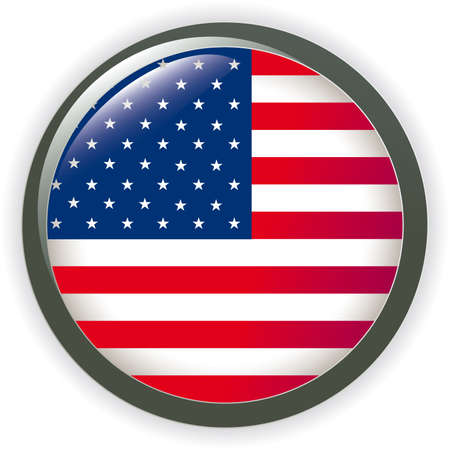 imperialism: USA, shiny button flag  illustration