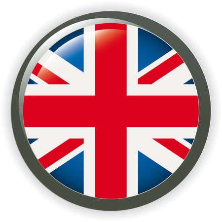 bandera reino unido: Bandera del Reino Unido de orbe bot�n ilustraci�n 3D