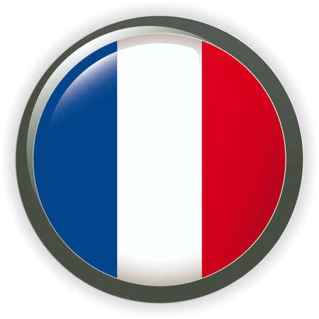 bandera francia: Bandera de Francia de orbe bot�n ilustraci�n 3D