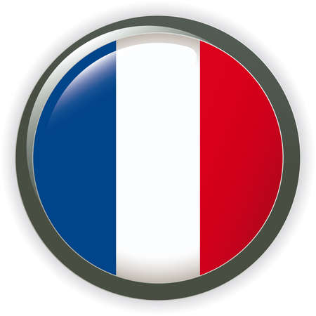 Orb FRANCE Flag button illustration 3D Vector