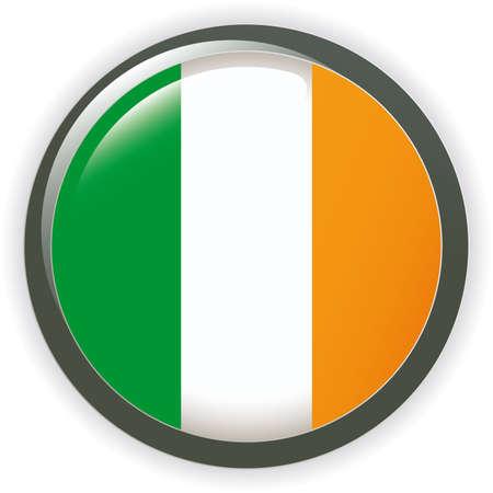 Orb IRELAND Flag  button illustration 3D Vector