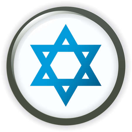 Flag of Israel, glossy button Stock Vector - 6977908