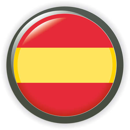 Orb spain Flag button illustration 3D Vector