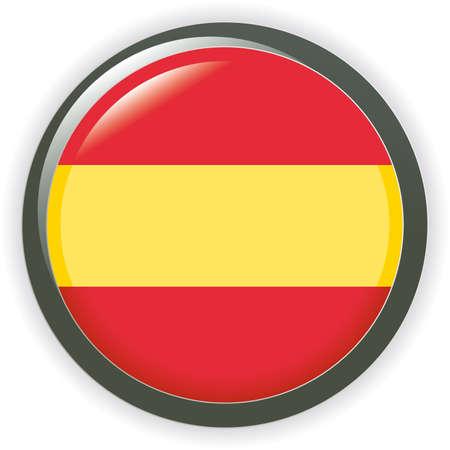 Orb spain Flag button illustration 3D Vector