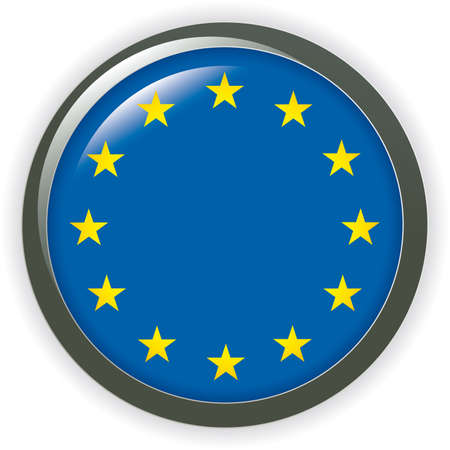 Orb EUROPE Flag button illustration 3D Vector