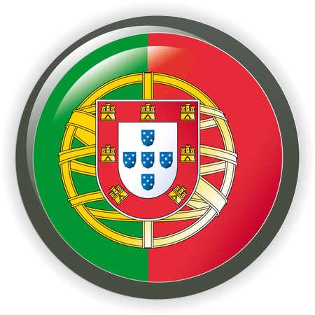 bandera de portugal: Portugal, ilustraci�n de bandera de bot�n brillante