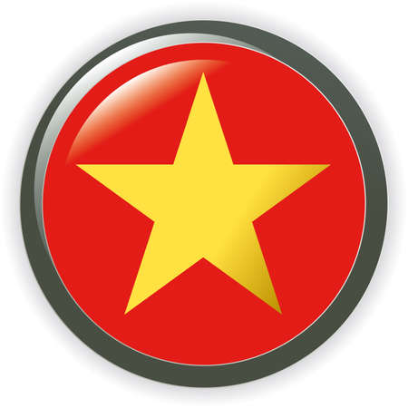 Vietnam, shiny button flag  illustration  Stock Vector - 6986585