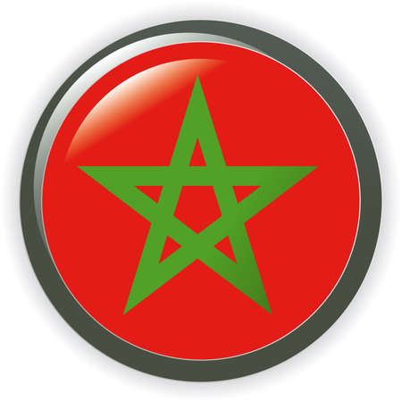 MOROCCO, shiny button flag  illustration  Vector