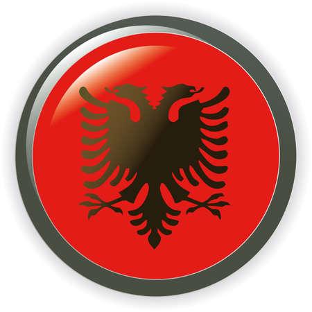 ALBANIA, shiny button flag  illustration  Vector