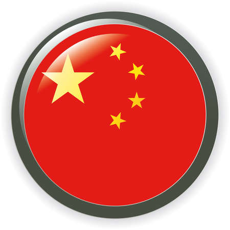 CHINA, shiny button flag  illustration  Vector