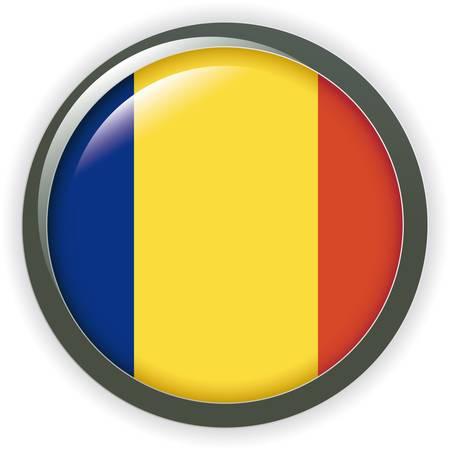 picto: flag of rumania, square button on white background