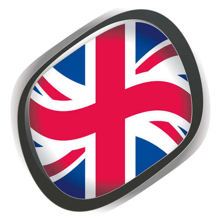 Interface orb button with united kingdom Flag, UK Vector