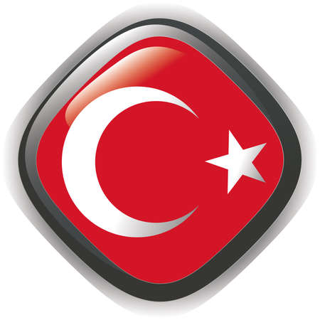 Flag of Turkey, glossy button Stock Vector - 7041436