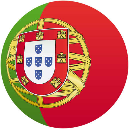 Portugal, shiny button flag illustration  illustration