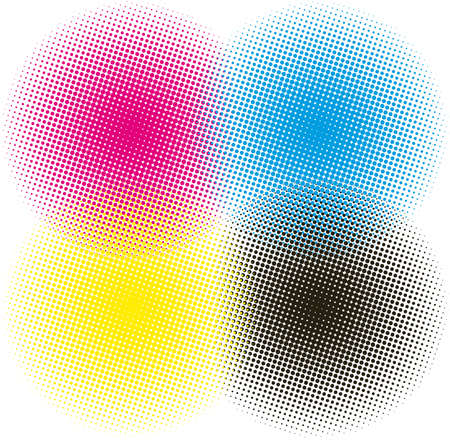 screen printing: halftone CMYK illustration background