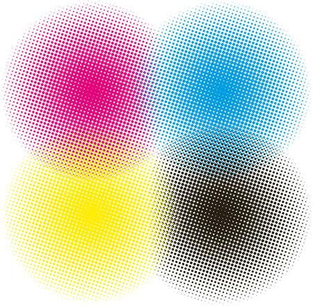 digital print: halftone CMYK illustration background