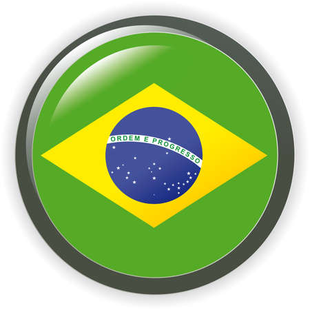 Brazil, shiny button flag illustration Stock Vector - 7041527