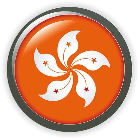 Orb Hong Kong Flag shiny button flag illustration Vector
