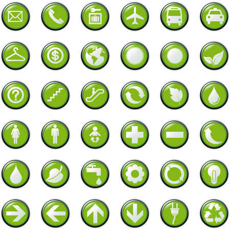 presentation buttons icons symbol web eco.  Vector