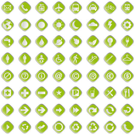 64 set presentation buttons icons symbol web eco.  Stock Vector - 7109100