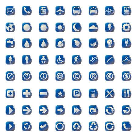 mine site: 64 SET METALLIC STICKED presentation icons symbol.