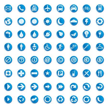 64 set presentation buttons icons symbol web eco.