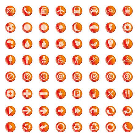 64 set presentation buttons icons symbol web eco.