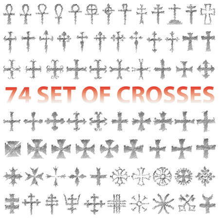 Set of 74 Crosses  pencil scribble Vector
