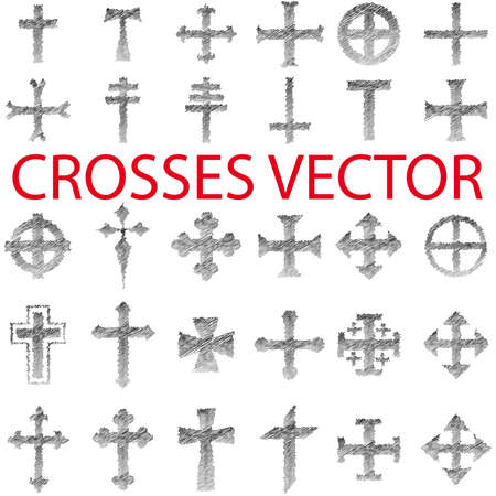 Set of Crosses  pencil scribble Vector