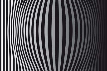 Op Art Bulging Vertical Stripes Black and White One Stock Vector - 7224746