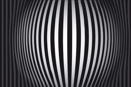 Op Art Bulging Vertical Stripes Black and White One Vector